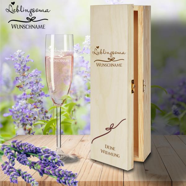Geschenkbox Lieblingsoma mit Sektglas von Leonardo und Gravur