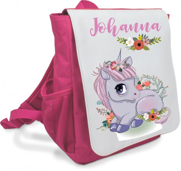Mädchen-Rucksack mit Einhorn-Baby und Deinem Namen
