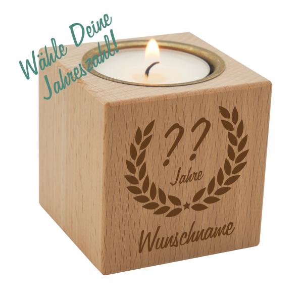 Teelichthalter Ehrenranke aus Holz zum Geburtstag - Dein Wunschjahr