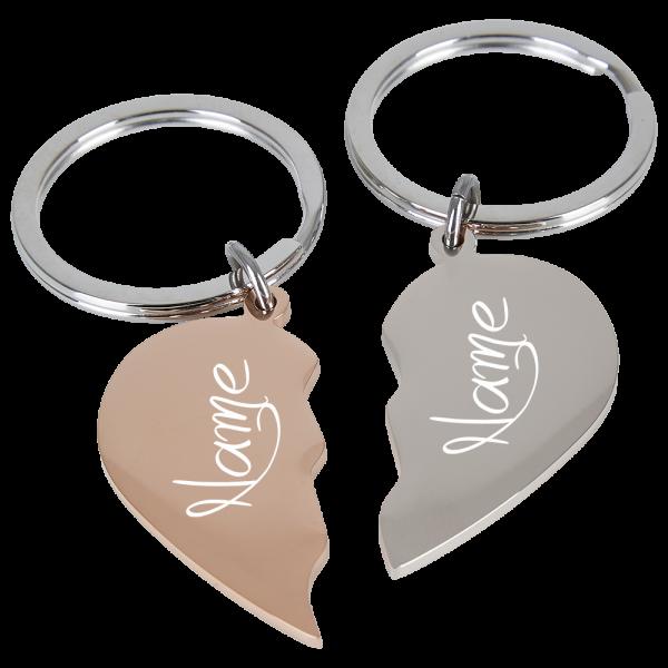 Edelstahl-Schlüsselanhänger geteilte Herzen rosegold-silber
