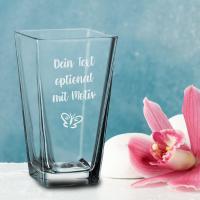 konische Glasvase mit Deinem Wunschtext