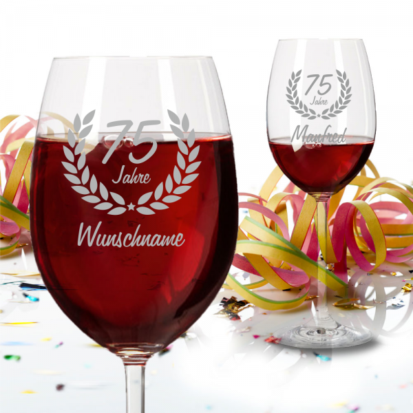 Personalisiertes Rotweinglas zum 75 Geburtstag