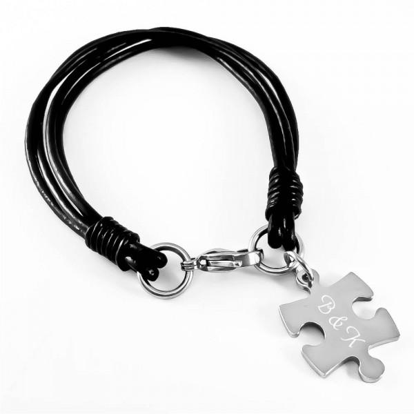 Trendgravur Leder-Armband mit Gravur Puzzle