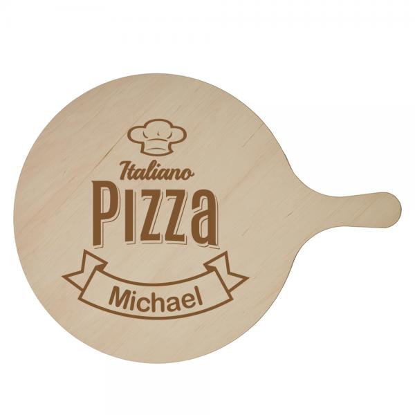 Pizzabrett mit Namen und Kochmütze