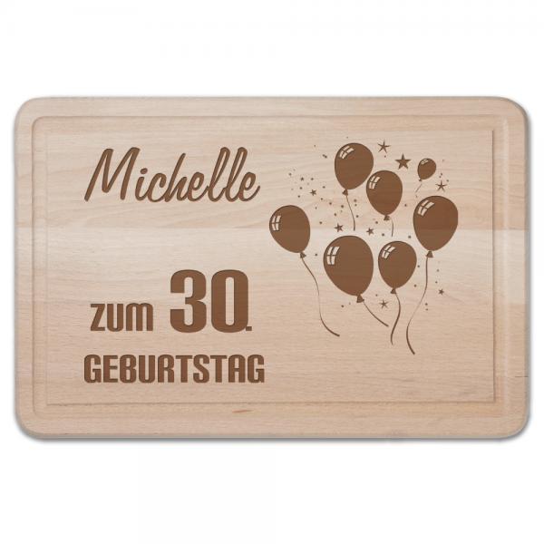 Schneidebrett mit Gravur - Zum 30. Geburtstag-Luftballons