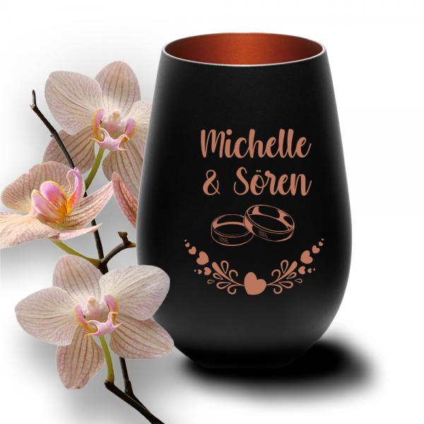 personalisiertes Windlicht zur Hochzeit mit Ringmotiven in der Farbe schwarz