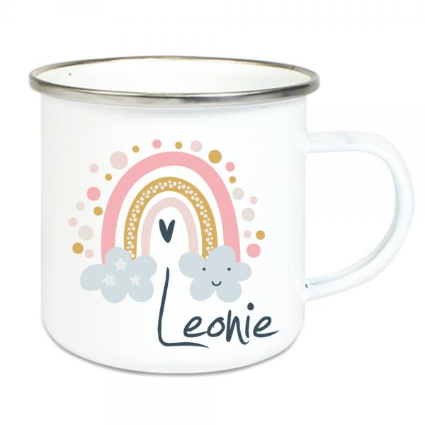 personalisierte Tasse für Mädchen- Regenbogen Wolken