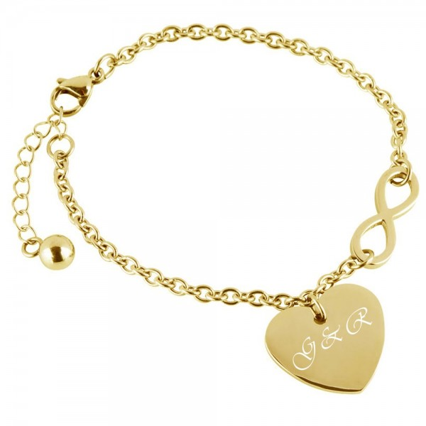 Herz-Armband mit Gravur Infinity gold