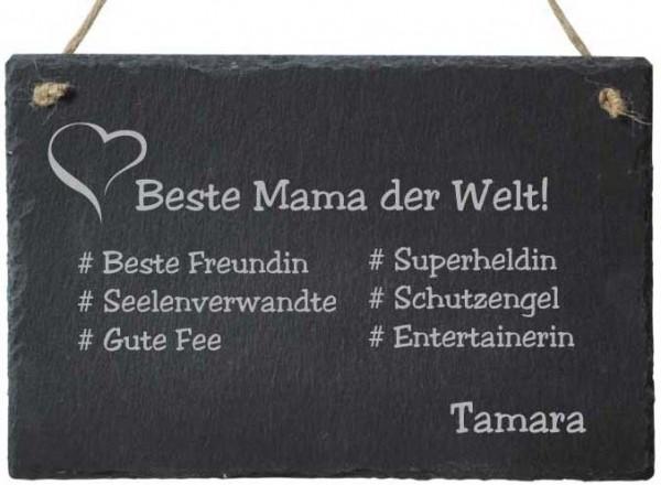 Dekoschild aus Schiefer mit Gravur - # Beste Mama