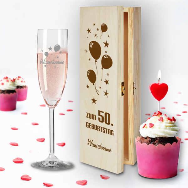 Geschenkbox und Sektglas von Leonardo Luftballons zum 50.Geburtstag