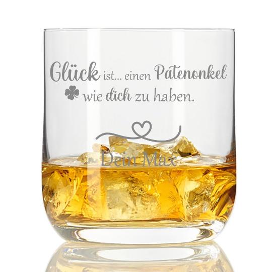 Whiskyglas mit Gravur Glück ist einen Patenonkel wie dich zu haben mit Wunschnamen