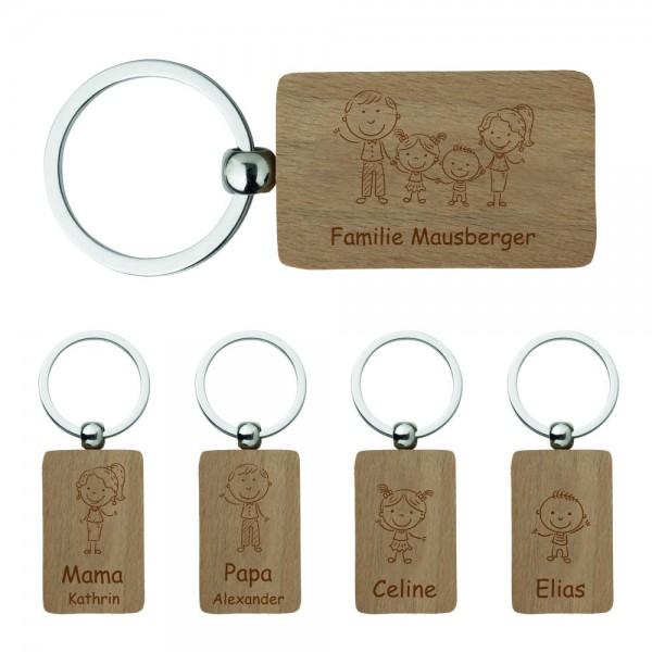 Schlüsselanhänger mit Gravur für die ganze Familie