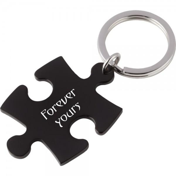 Edelstahl-Schlüsselanhänger mit Gravur Puzzle schwarz