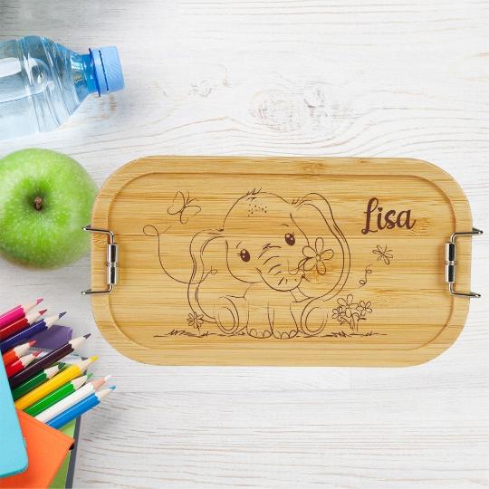 personalisierte Brotdose Kinder Lunchbox Metall mit Holzdeckel Elefant