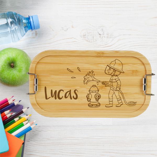 personalisierte Brotdose Lunchbox Bambus Feuerwehrmann