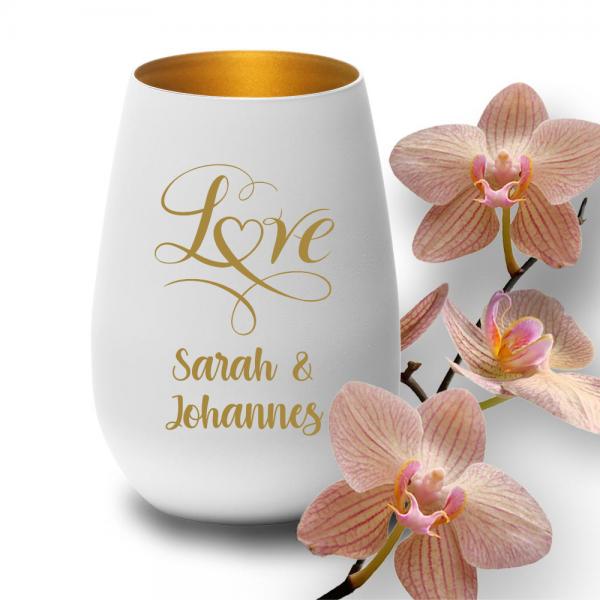 Elegantes Windlicht zur Hochzeit -Love mit Deinen Wunschnamen