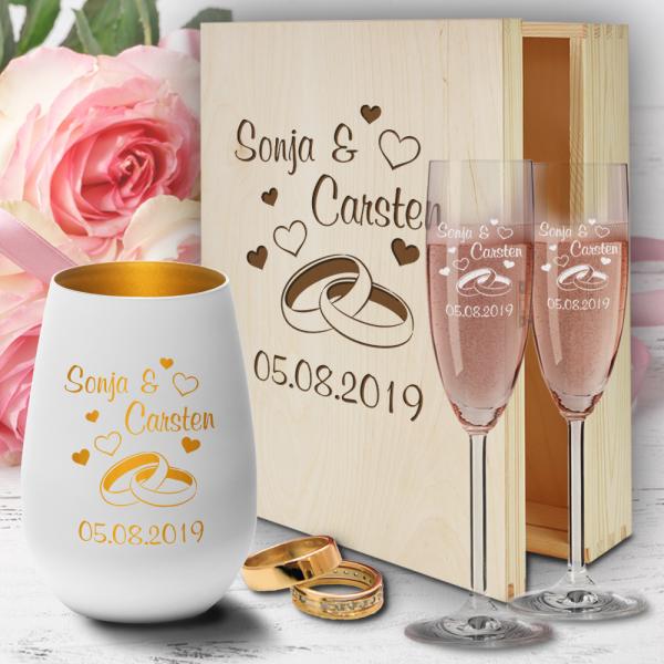 personalisierte Geschenkbox zur Hochzeit Sektgläser und Windlicht  - Ringe