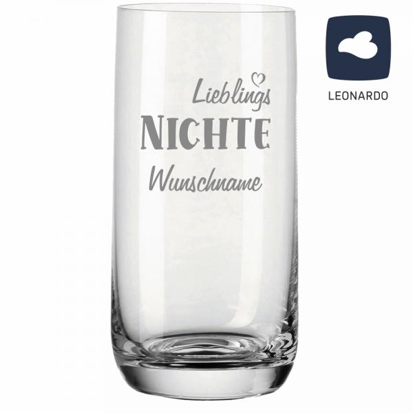 Trinkglas Lieblings-Nichte mit Deinem Wunschnamen