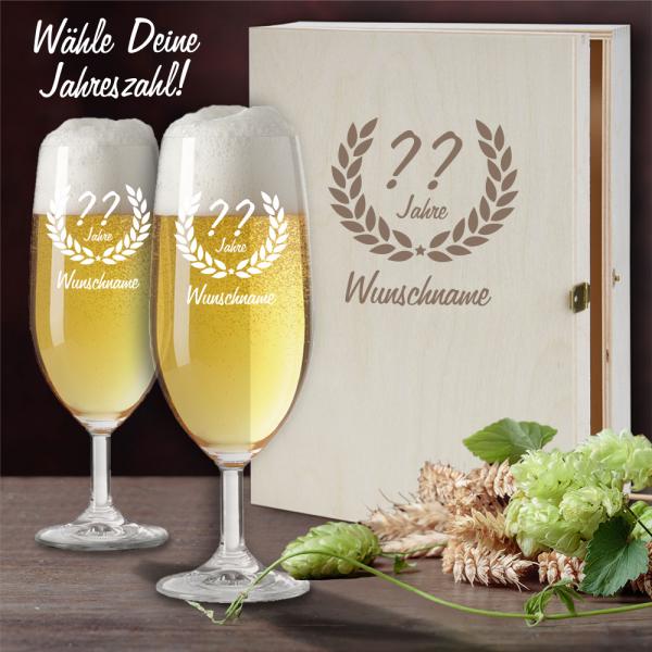 Bierglas Geschenkset mit schöner Holzkiste zum Geburtstag