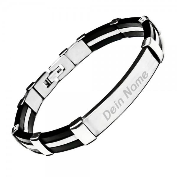 Armband mit Gravur Edelstahl-Kautschuk AG-039