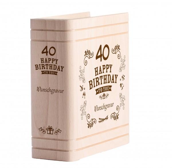 Personalisiertes Sparbuch mit Gravur - 40. Geburtstag