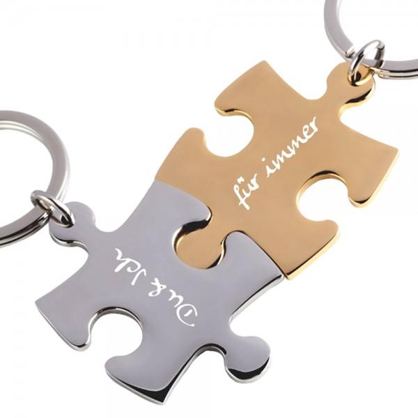 Trendgravur Partner-Schlüsselanhänger mit Gravur Puzzle silber gold