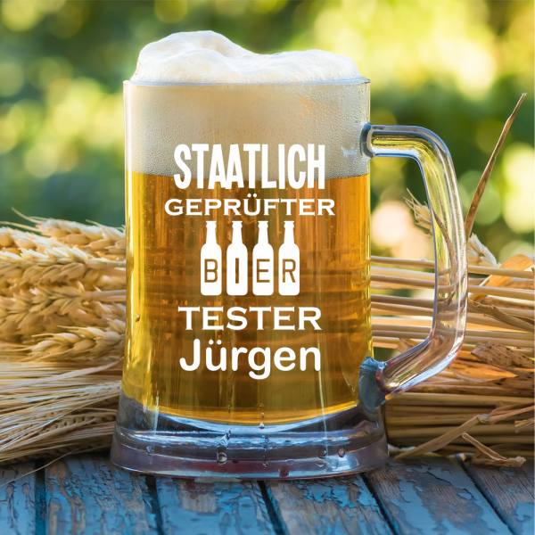 """""""Staatlich geprüfter Biertester"""" mit Wunschnamen - Bierkrug"""