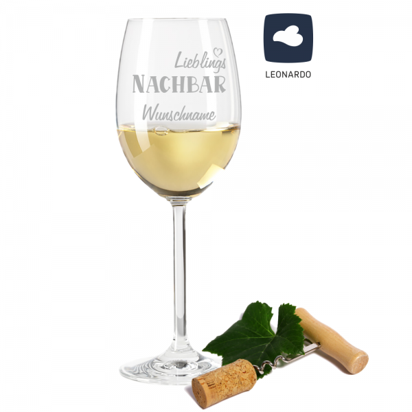 Weißweinglas Lieblings-Nachbar mit Deinem Wunschnamen