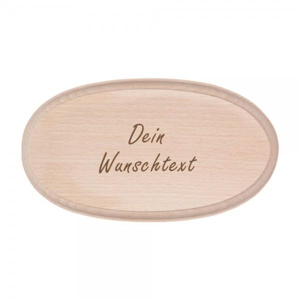 Türschild mit Deiner Namensgravur aus Buchenholz oval - Wunschtext