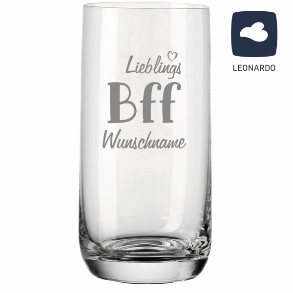 Trinkglas Lieblings-BFF mit Deinem Wunschnamen