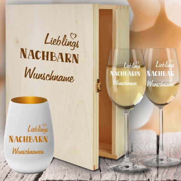 Geschenkbox Weißweingläser von Leonardo mit Windlicht für Deine Lieblings-Nachbarn