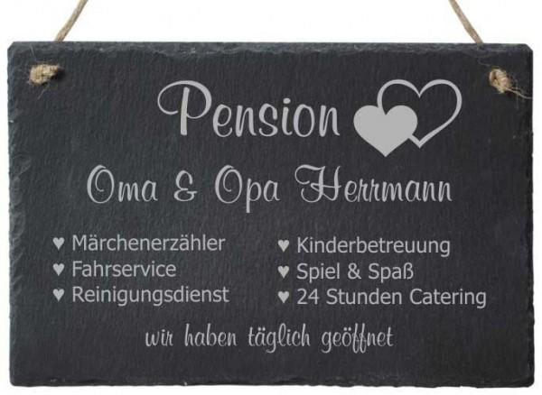 Türschild aus Schiefer mit Gravur - Pension Oma & Opa