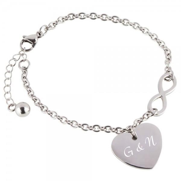 Herz-Armband mit Gravur Infinity silber