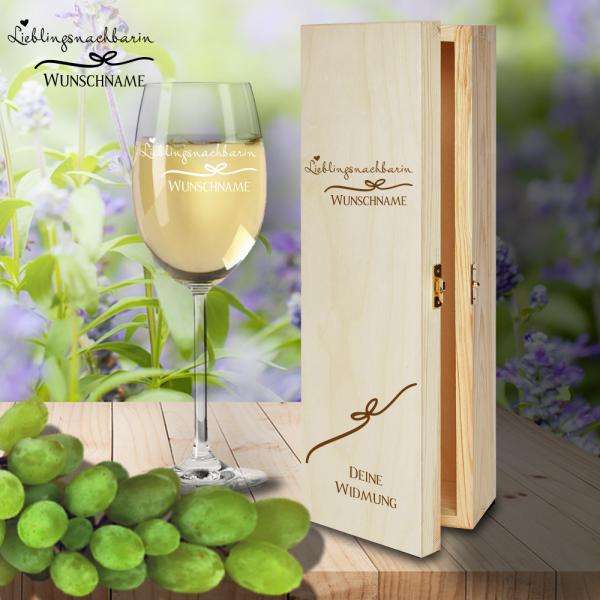 Geschenk Box und Weißweinglas von Leonardo Lieblingsnachbarin mit Namensgravur