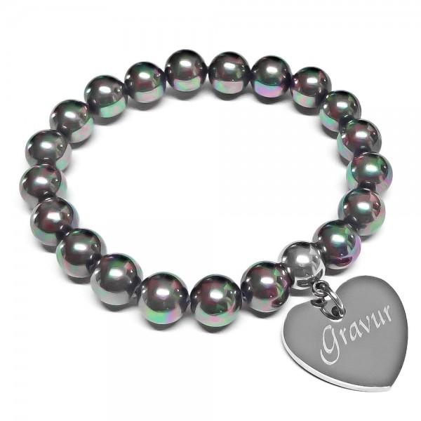 Trendgravur Perlen-Armband mit Gravur und Herz-Anhänger AG-B016