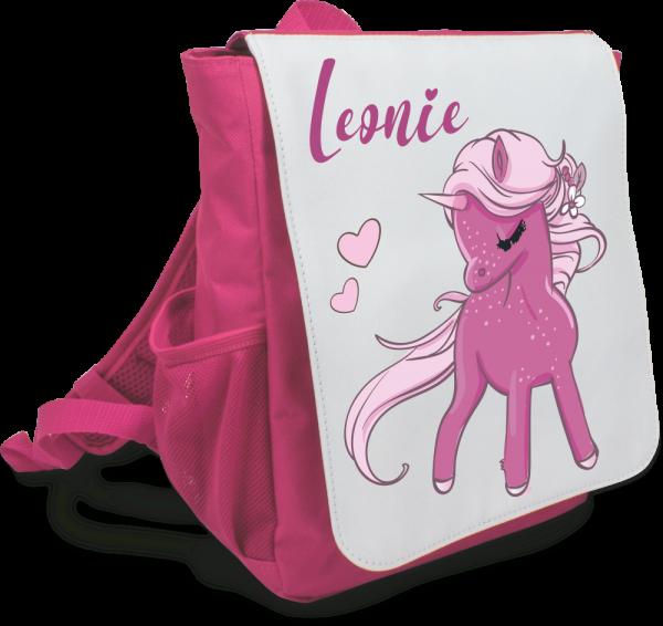 Kinder-Rucksack mit Deinem Wunschnamen Modell Einhorn