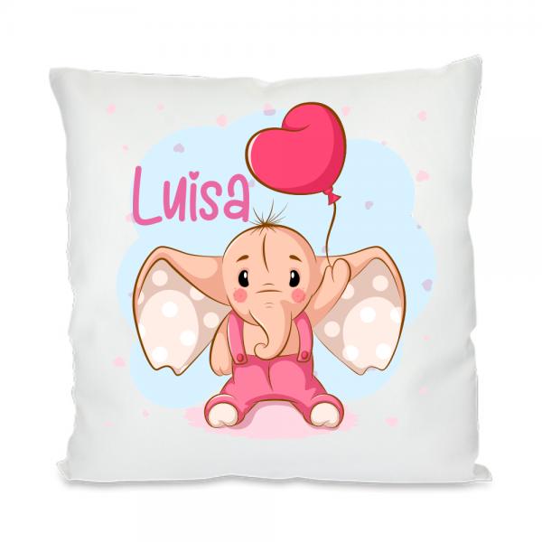 Kinder-Kissen mit Namen Elefant Luftballon