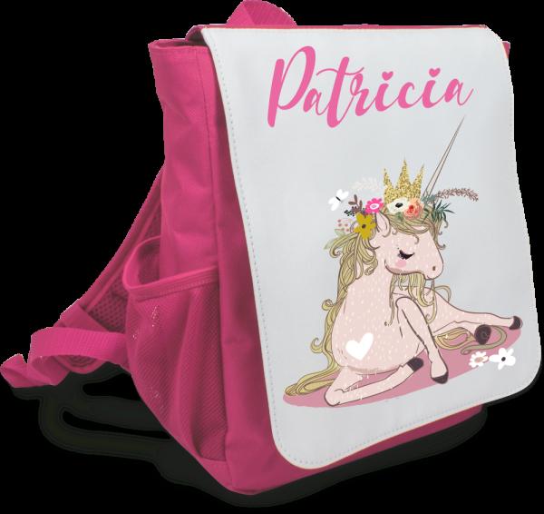 Kinder-Rucksack mit Wunschnamen Einhorn floral