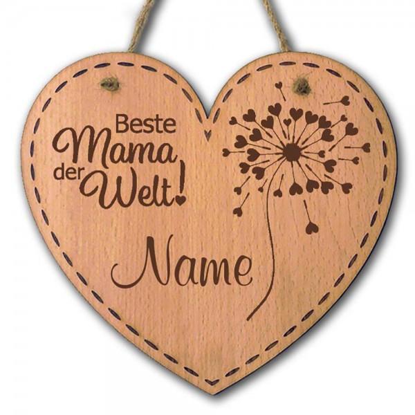 Holz-Herz mit Pusteblume zum Aufhängen für die Beste Mama