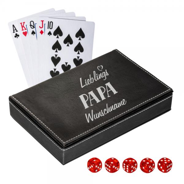 Personalisiertes Spielkarten Set mit Box - Lieblings-Papa mit  Deinem Wunschnamen