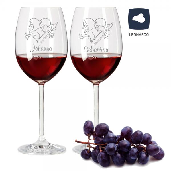Rotweinglas-Set von Leonardo mit Gravur Tauben mit Wunschdatum und Wunschnamen zur Hochzeit