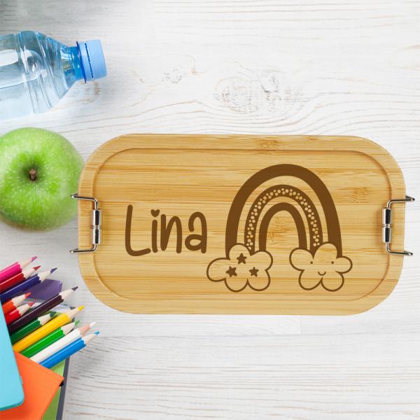 personalisierte Brotdose Lunchbox Bambus Regenbogen