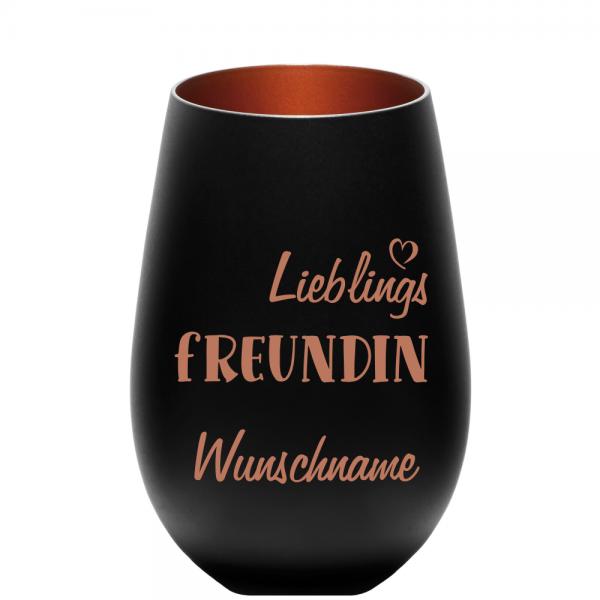 Windlicht Lieblings-Freundin mit Wunschnamen schwarz-bronze