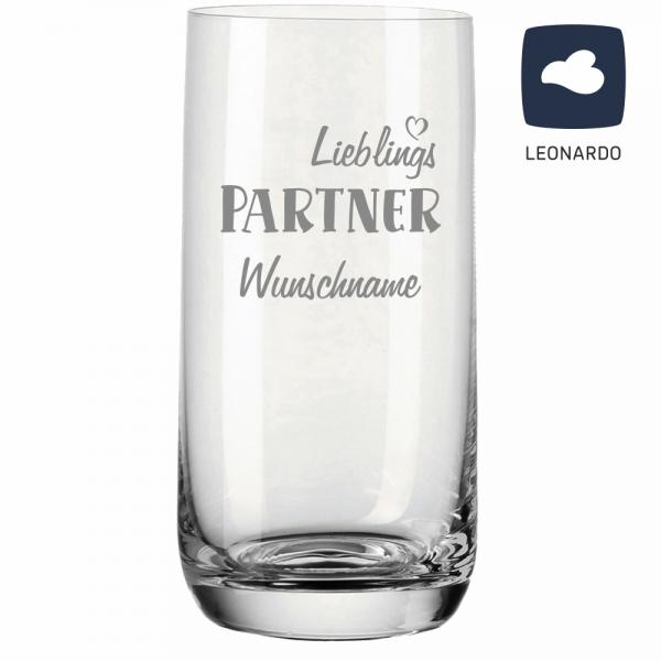 Trinkglas Lieblings-Partner mit Deinem Wunschnamen