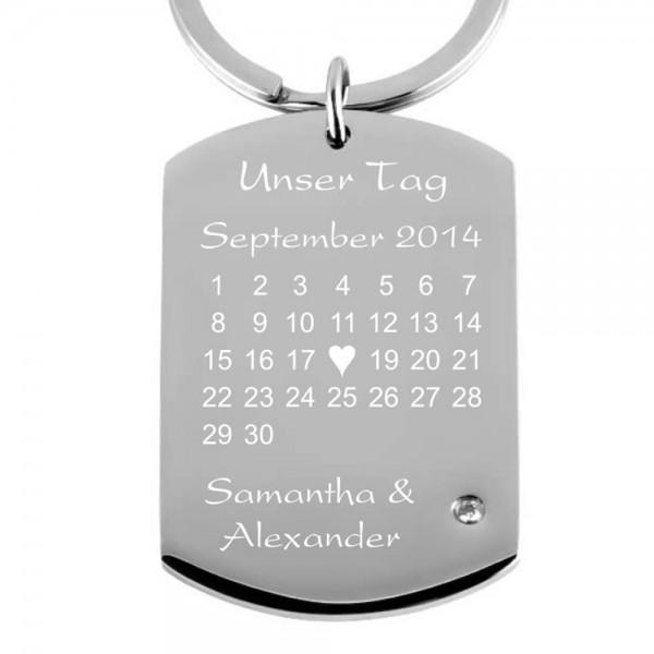 Edelstahl-Schlüsselanhänger mit Kalender + Zirkonia