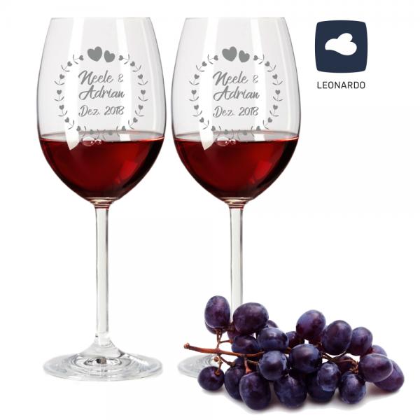 personalisiertes Rotweinglas-Set von Leonardo mit Gravur Motiv Herzkreis, Wunschnamen und Wunschdatum