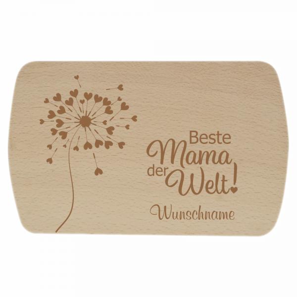 Frühstücksbrettchen Beste Mama der Welt Pusteblume + Wunschname