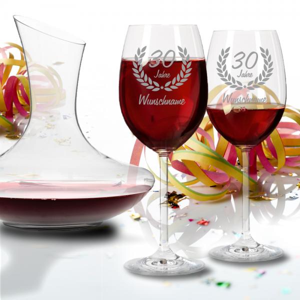 Personalisiertes Set Leonardo Rotweingläser mit Dekanter zum 30. Geburtstag