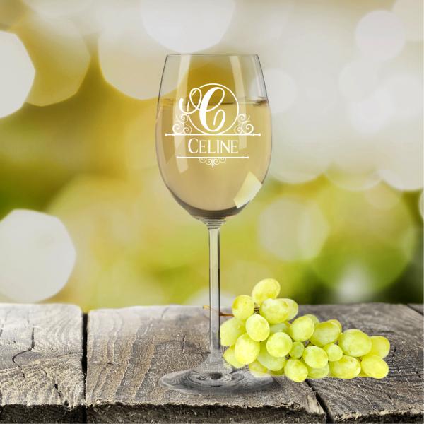 Personalisiertes Weißweinglas von Leonardo Monogramm