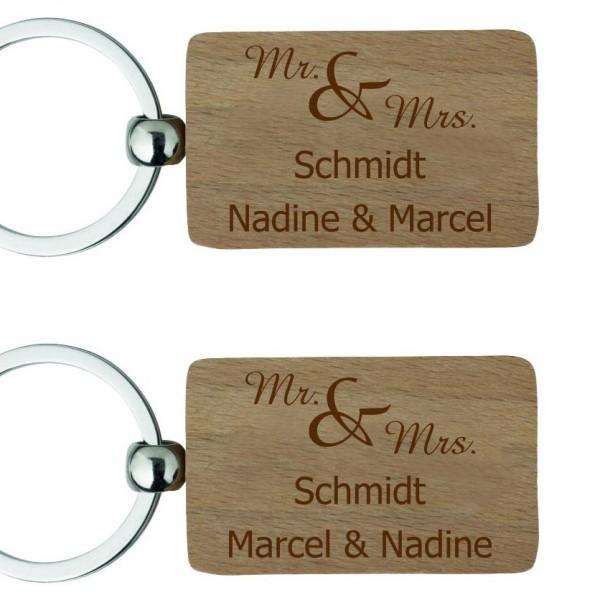 Holz-Partner-Schlüsselanhänger mit Gravur Mr & Mrs